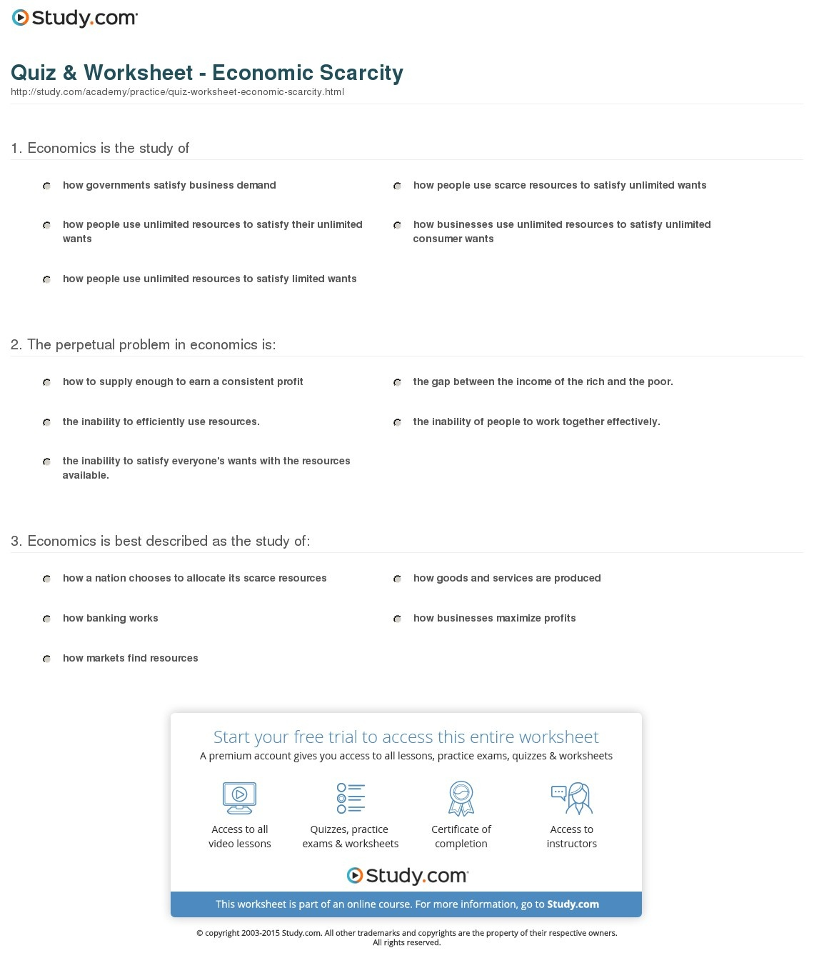 Quiz & Worksheet - Economic Scarcity | Study - Free Printable Economics Worksheets