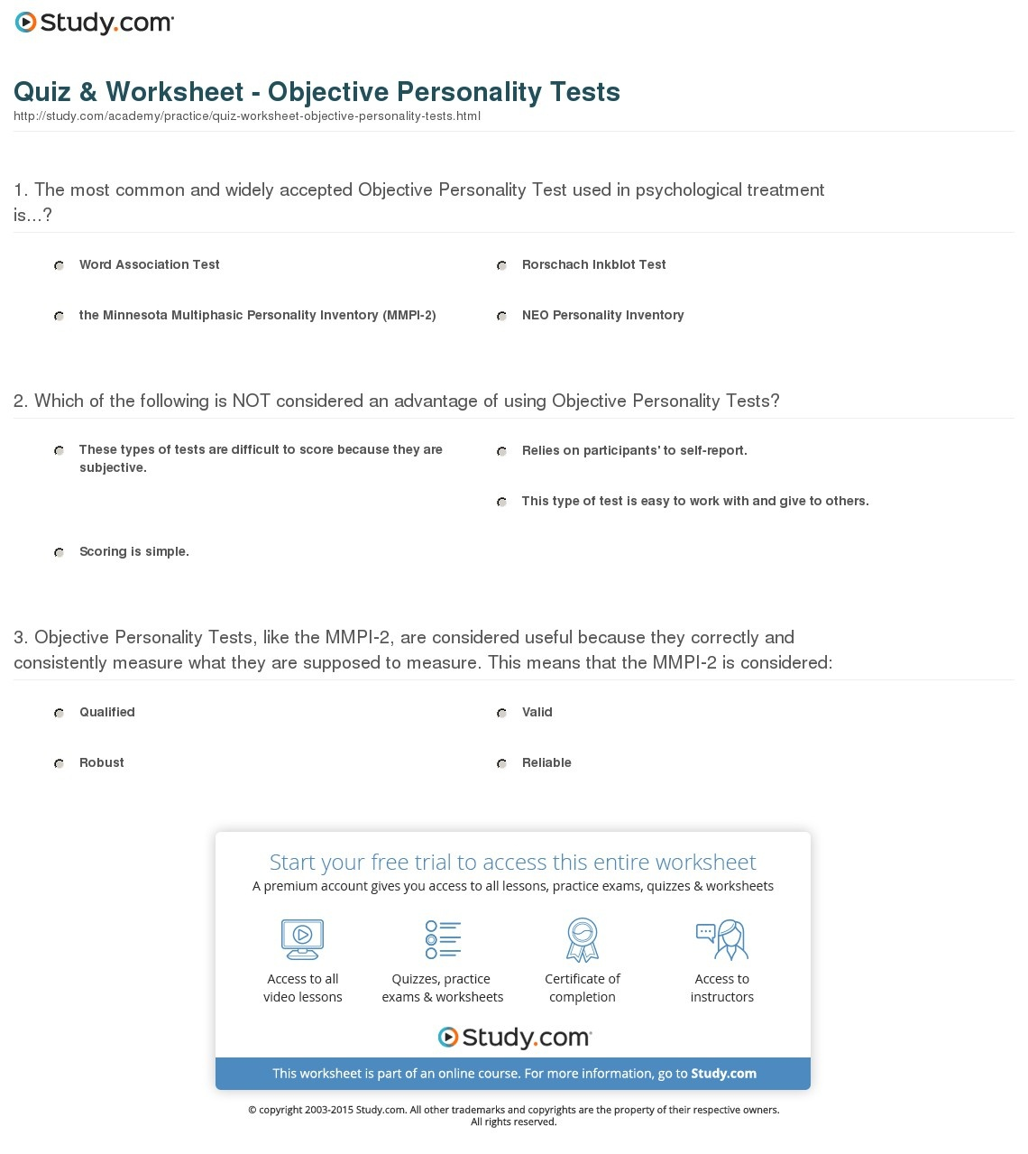 Quiz & Worksheet - Objective Personality Tests | Study - Free Printable Personality Test