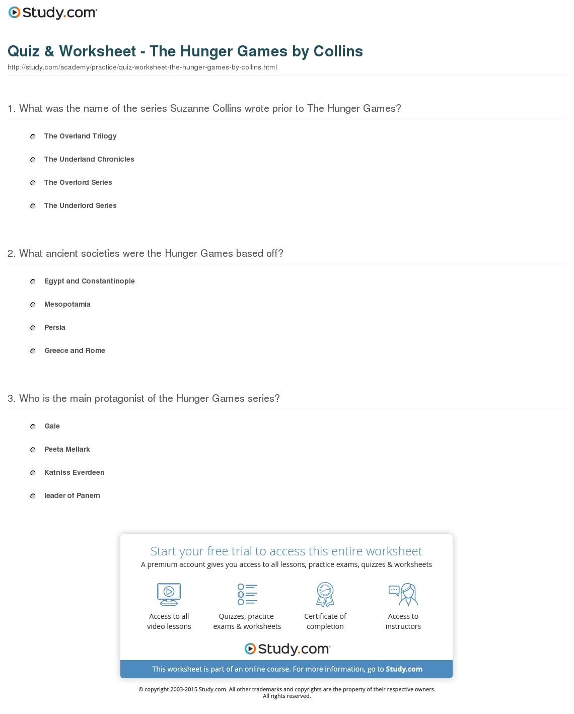 Quiz & Worksheet - The Hunger Gamescollins   Study - Hunger Games Free Printable Worksheets
