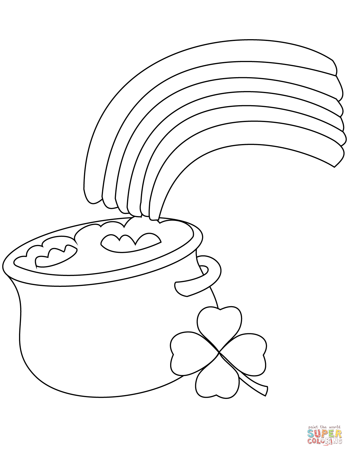 Rainbow And Pot Of Gold Coloring Page | Free Printable Coloring Pages - Pot Of Gold Template Free Printable