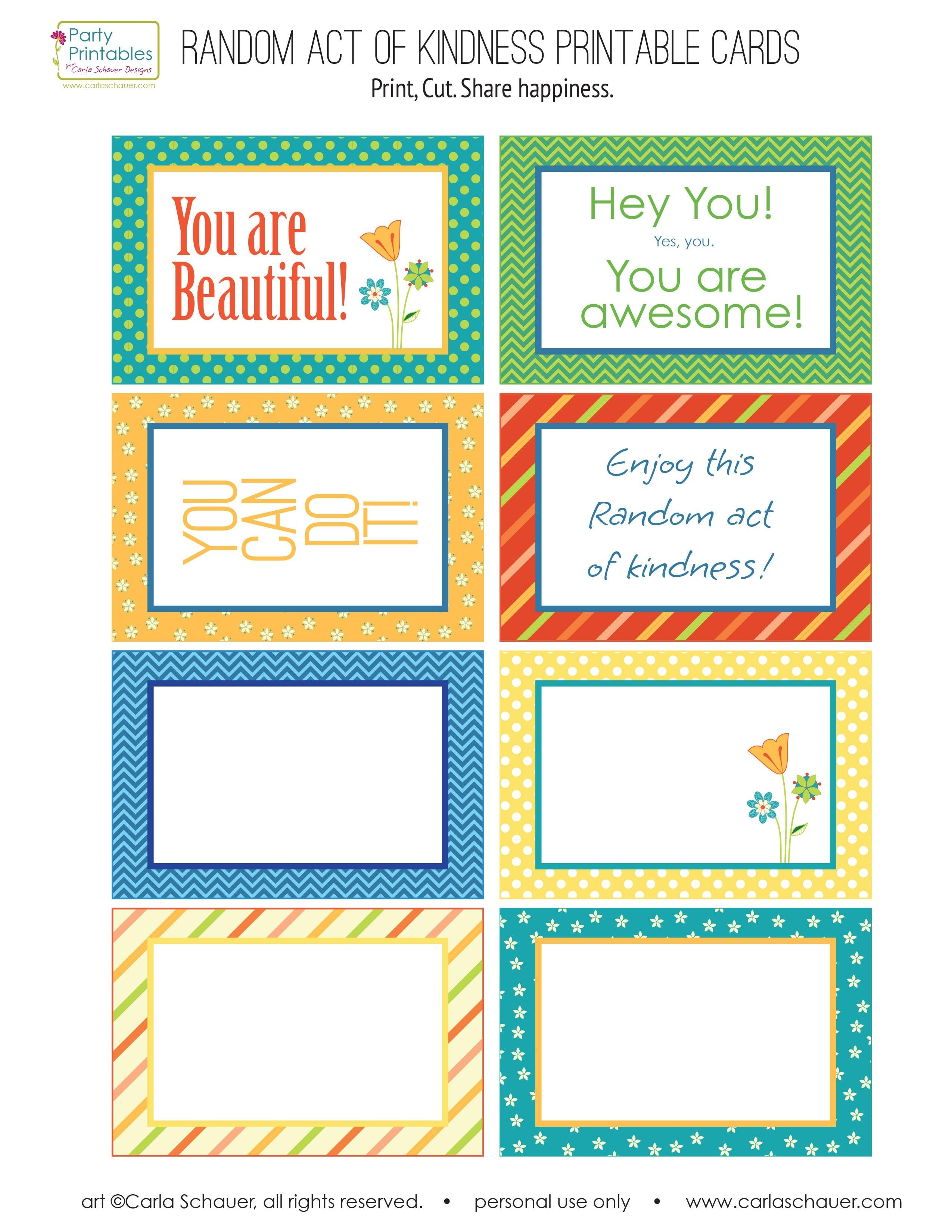 Random Act Of Kindness Free Printables | Carla Schauer Designs - Free Printable Kindness Cards
