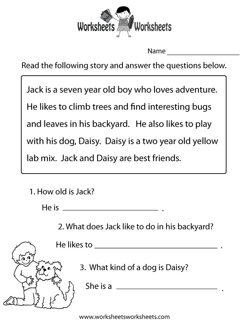 Reading Comprehension Practice Worksheet   Education   1St Grade - Free Printable Ela Worksheets