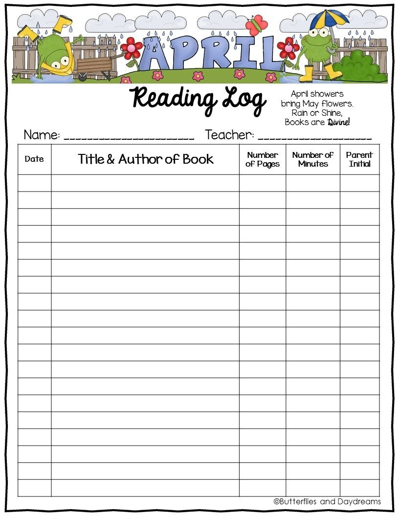 Reading Log {April Showers}   Tpt Free Lessons   Reading Logs - Free Printable Reading Recovery Books