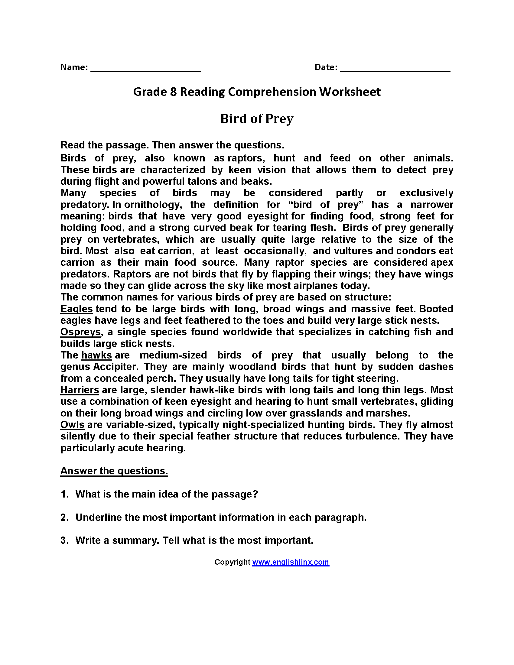 Reading Worksheets | Eighth Grade Reading Worksheets - Third Grade Reading Worksheets Free Printable