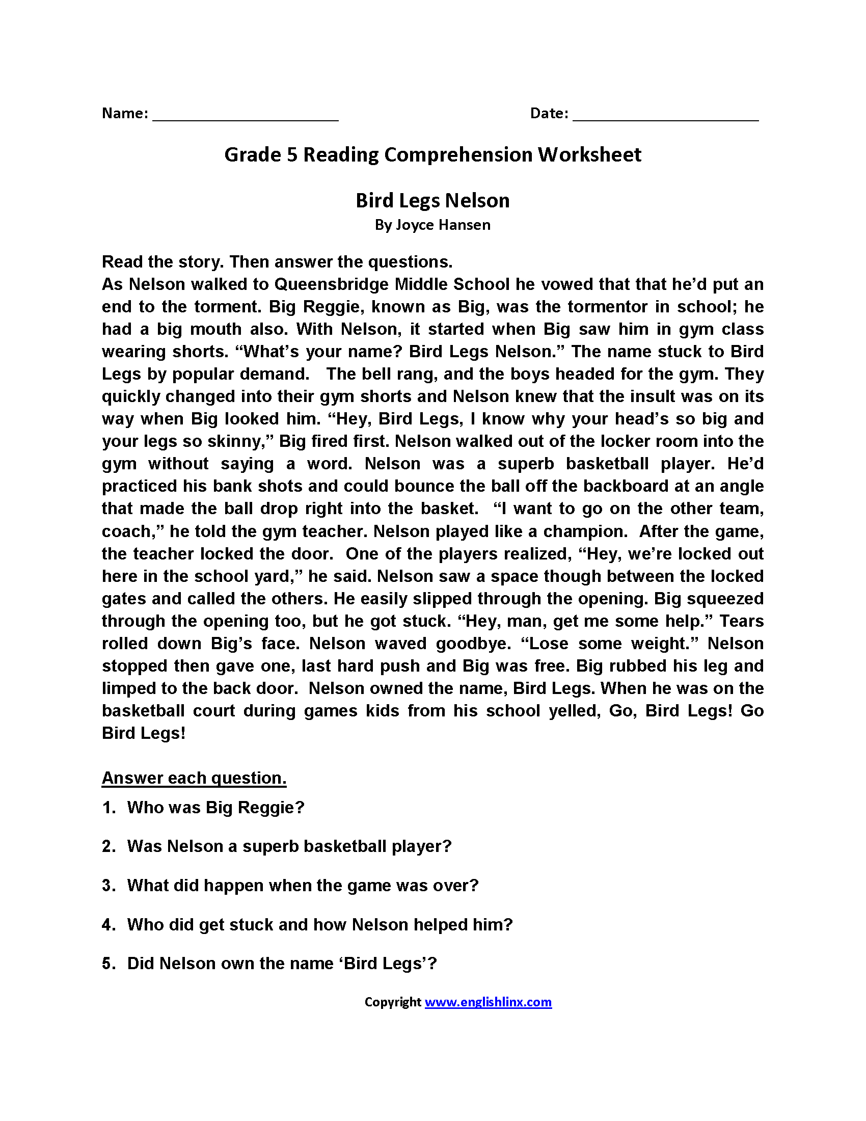 Reading Worksheets | Fifth Grade Reading Worksheets - Free Printable Comprehension Worksheets For Grade 5