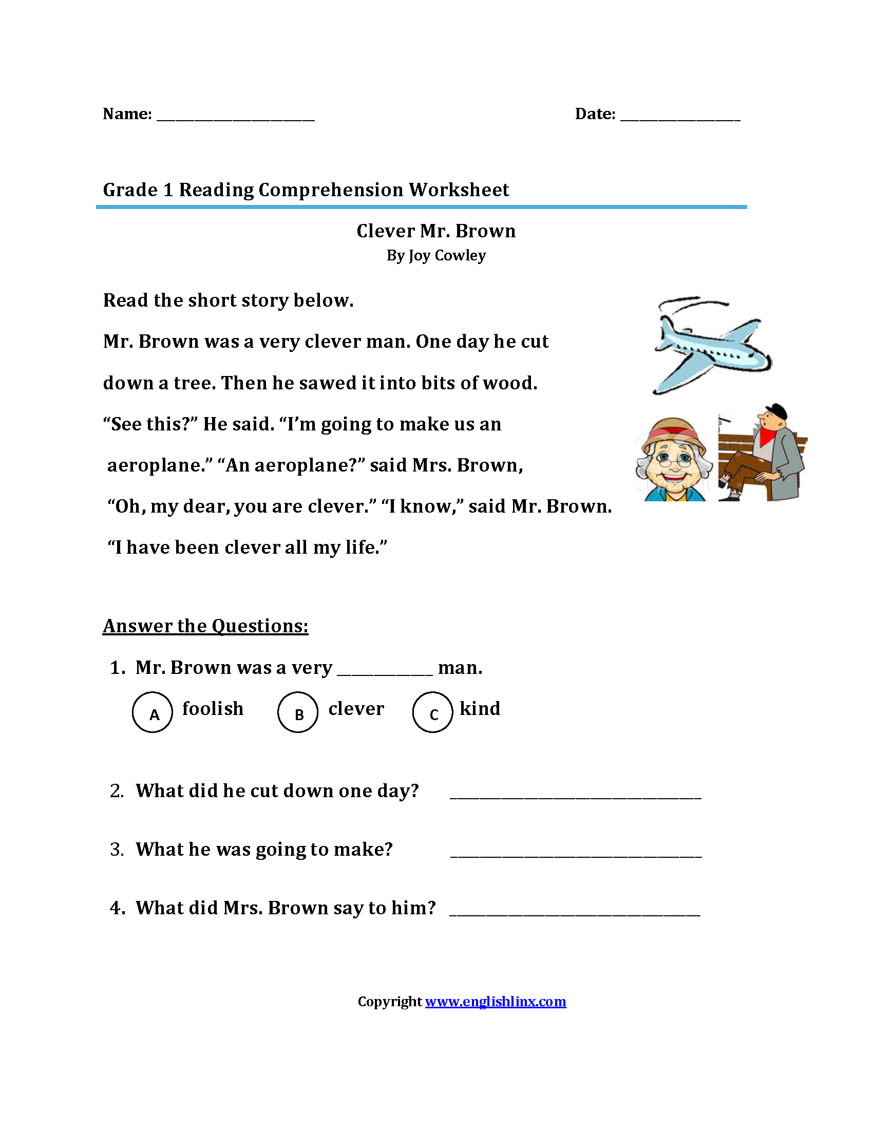 Reading Worksheets | First Grade Reading Worksheets - Free Printable First Grade Worksheets