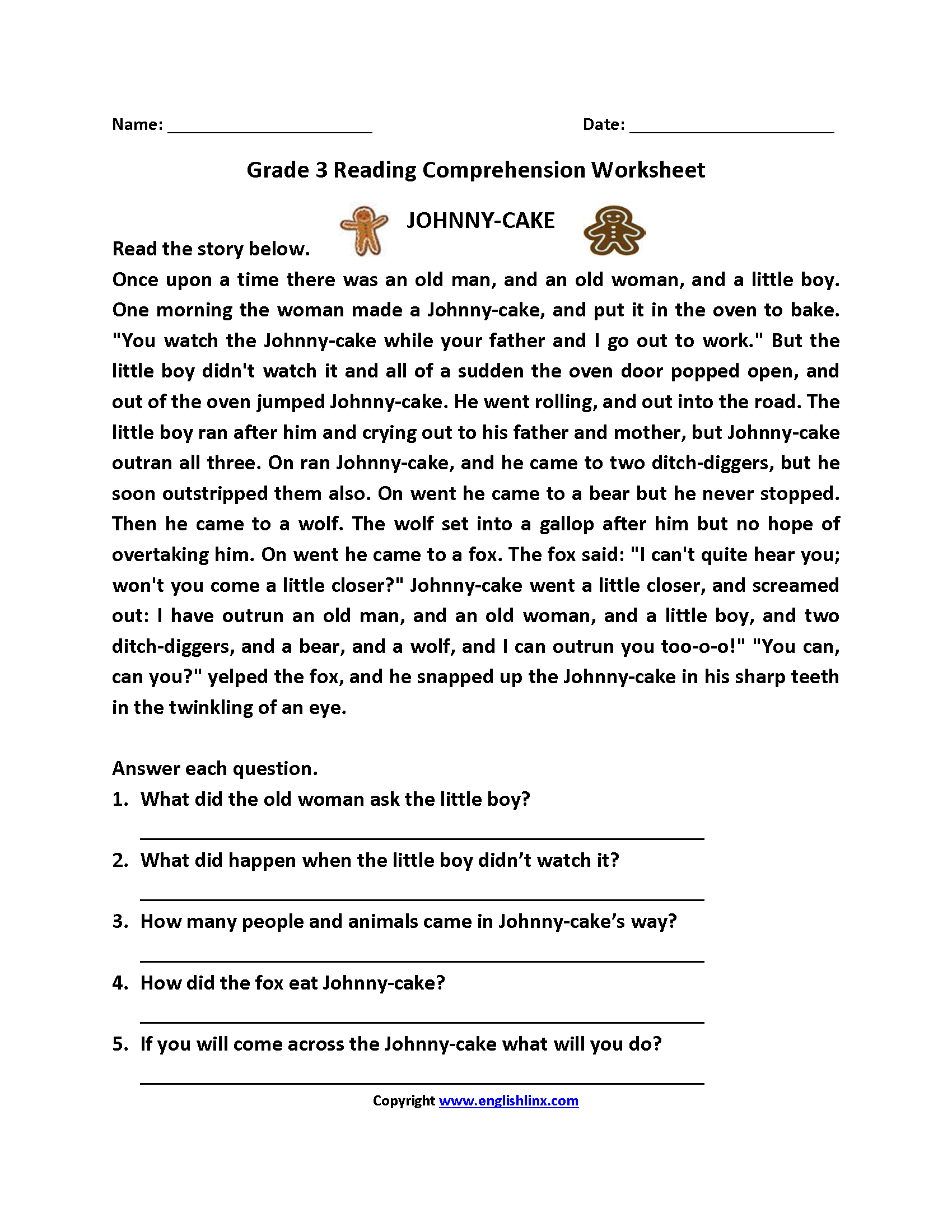 Free Printable Reading Comprehension Worksheets For 3Rd ...