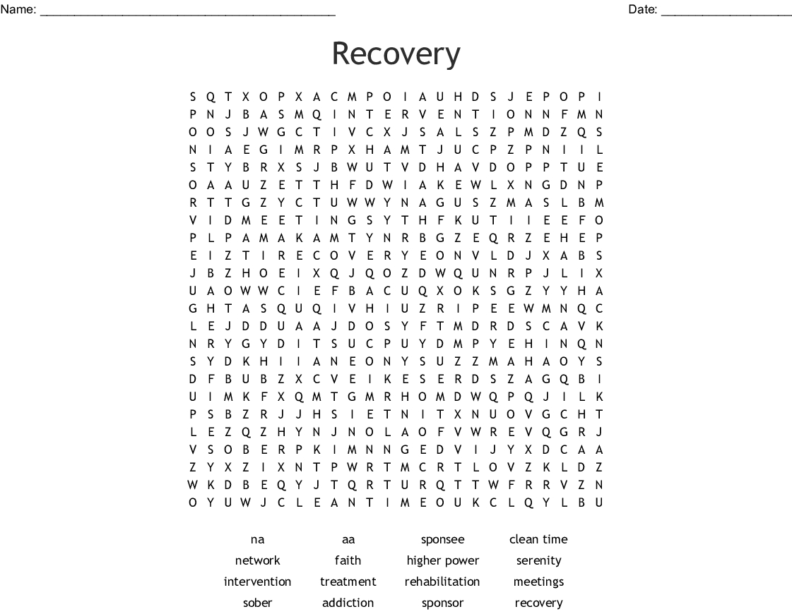 Recovery Word Search - Wordmint - Free Printable Recovery Games