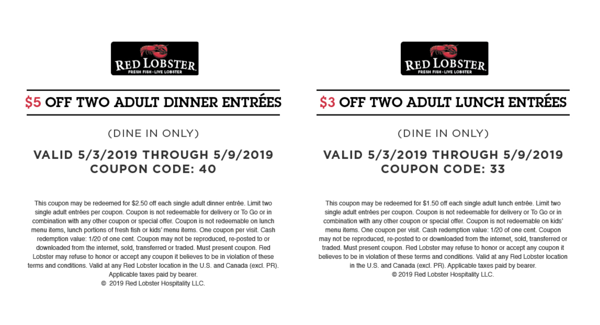 Red Lobster Coupons (Printable Coupons & Mobile) - 2019 - Free Printable Red Lobster Coupons