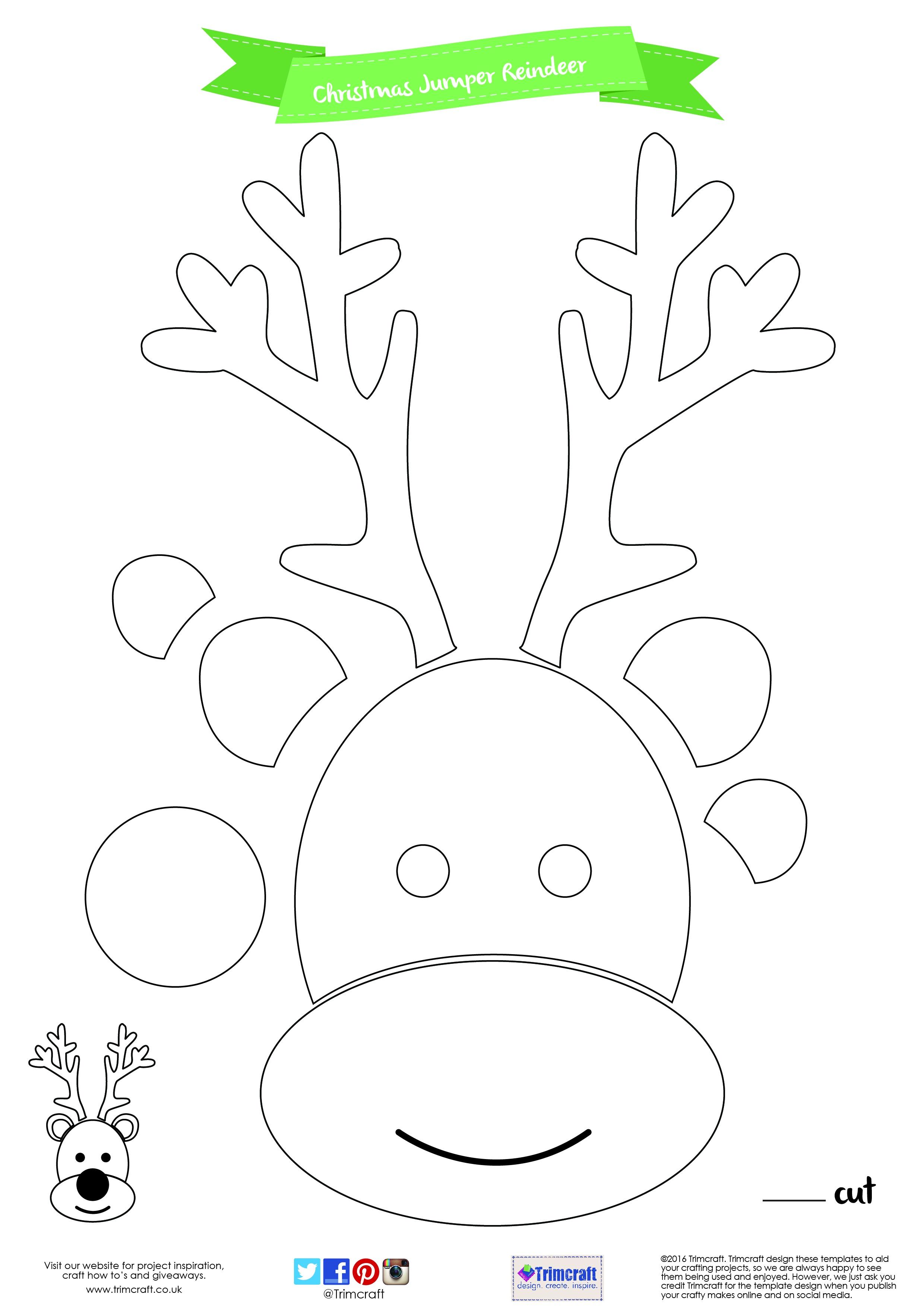 Reindeer Cut Out Template - Tutlin.psstech.co - Reindeer Antlers Template Free Printable