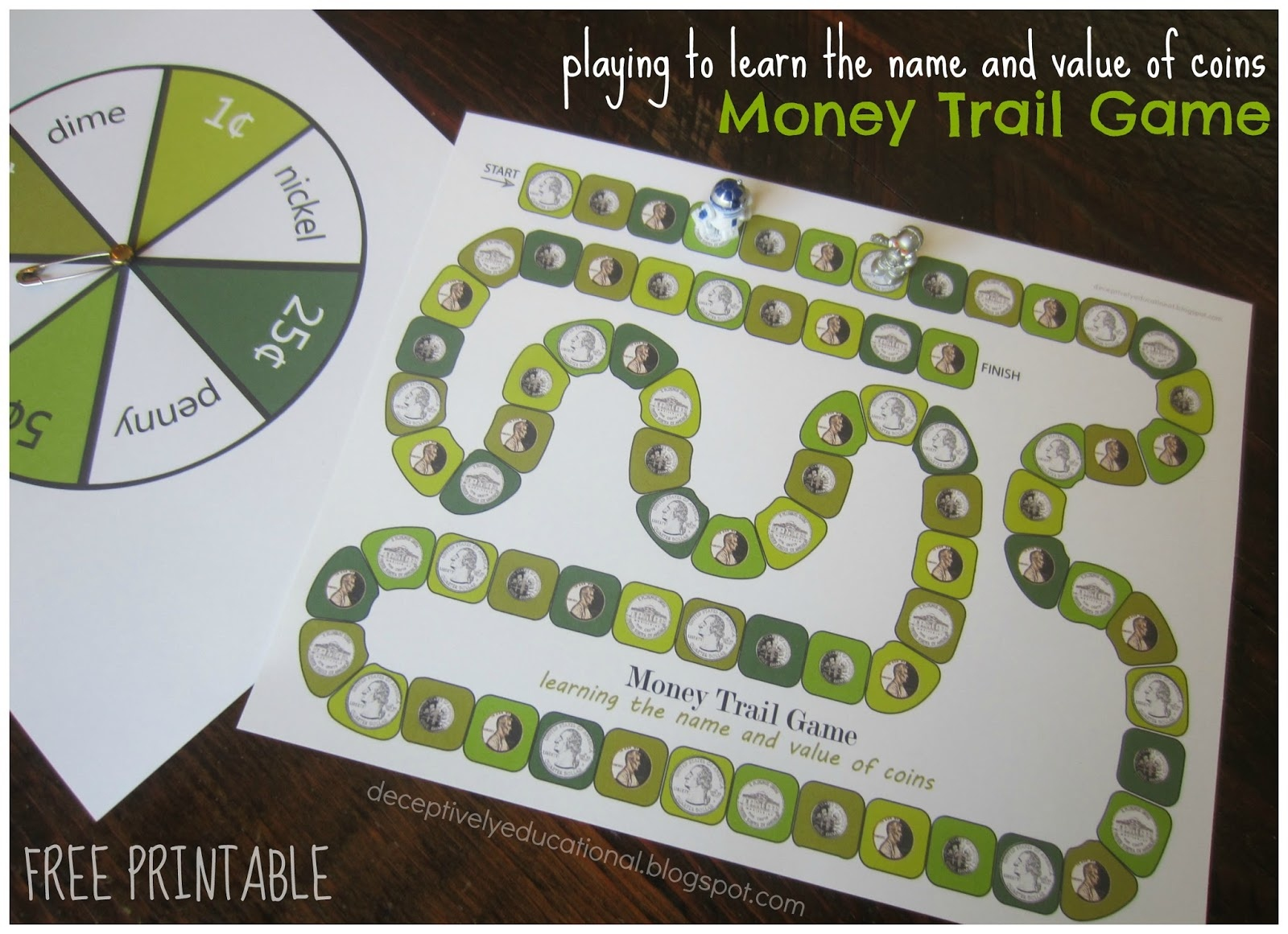 Relentlessly Fun, Deceptively Educational: Money Trail Board Game - Free Printable Game Money