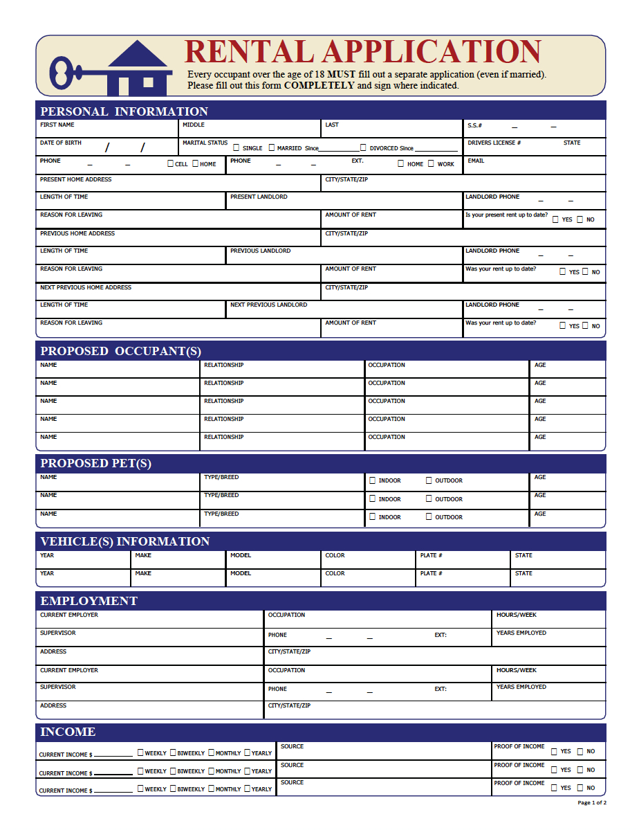 Rental Application Pdf | Property Management Forms In 2019 | Being A - Free Printable Rental Application