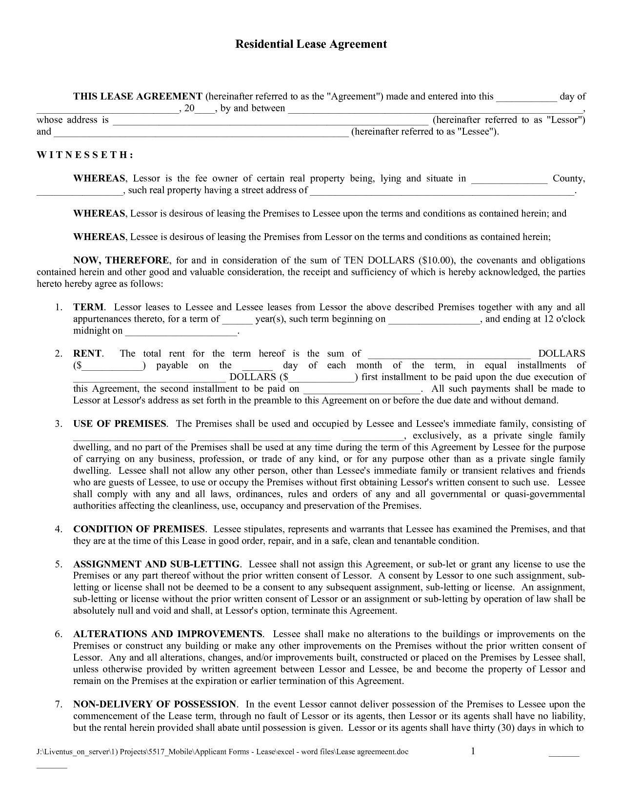 Residential Lease Agreement Form Free Download - Tutlin.psstech.co - Rental Agreement Forms Free Printable