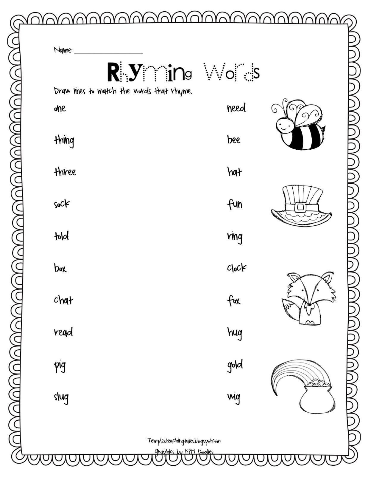 Rhyming Words Match Up: Temple's Teaching Tales | For The Classroom - Free Printable Rhyming Words Worksheets