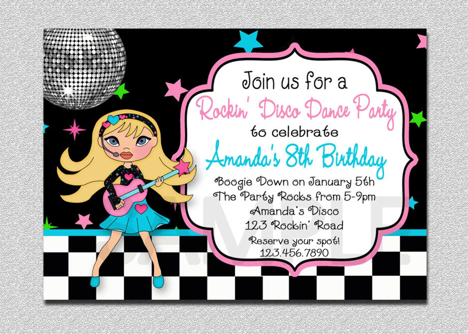 Rock Star Birthday Invitation Disco Rock Star Birthday Party | Etsy - Free Printable Karaoke Party Invitations