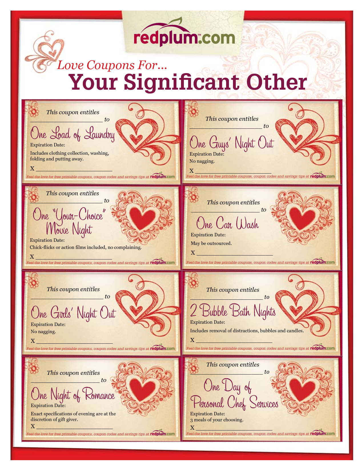 Romantic Love Coupon Template Printable | Love Coupons For Your - Free Printable Love Coupons