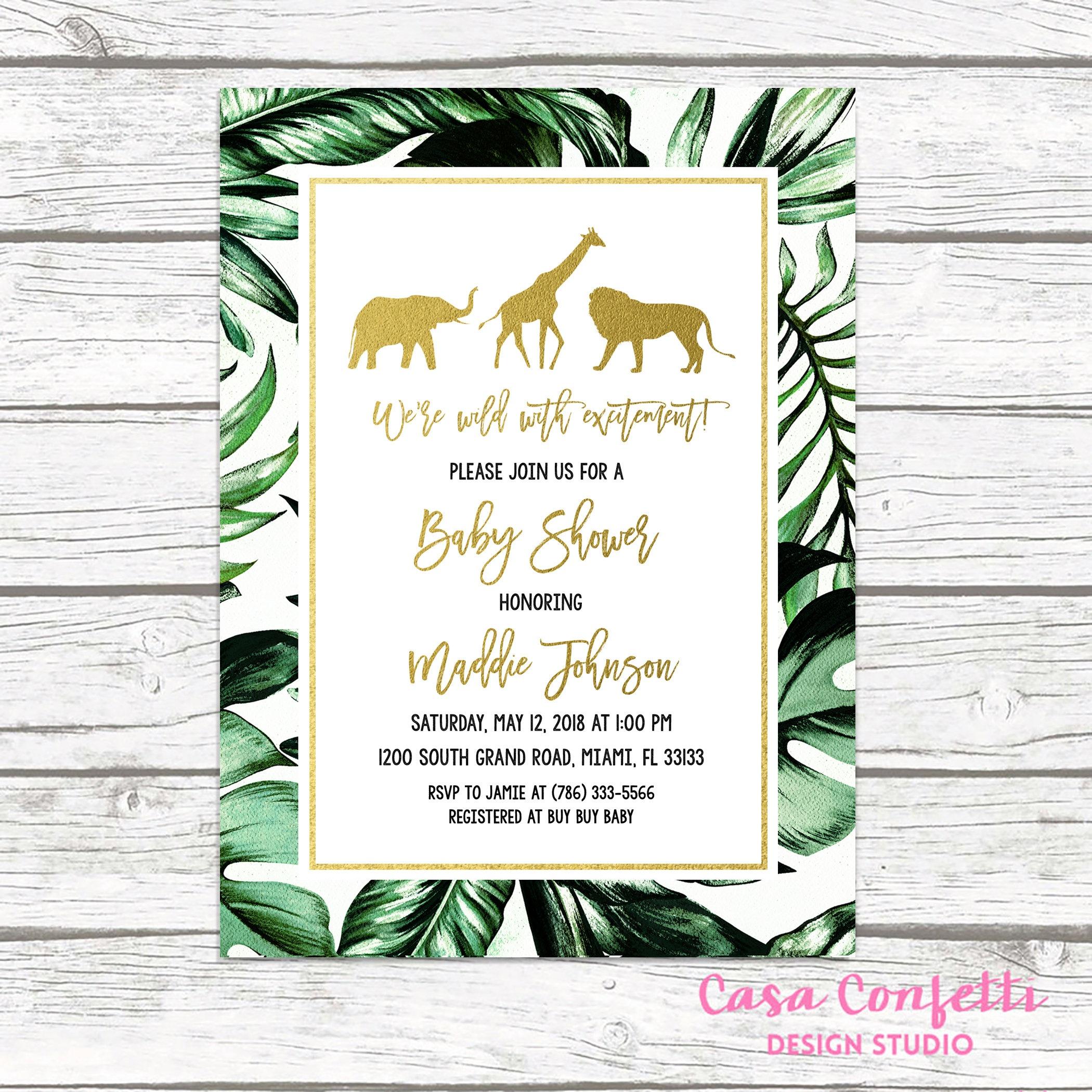 Safari Baby Shower Invitation, Gold Safari Baby Shower Invitation - Free Printable Jungle Safari Baby Shower Invitations