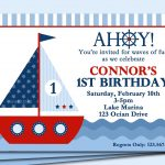 Sailboat Invitation Printable Or Printed With Free Shipping - Free Printable Sailboat Template