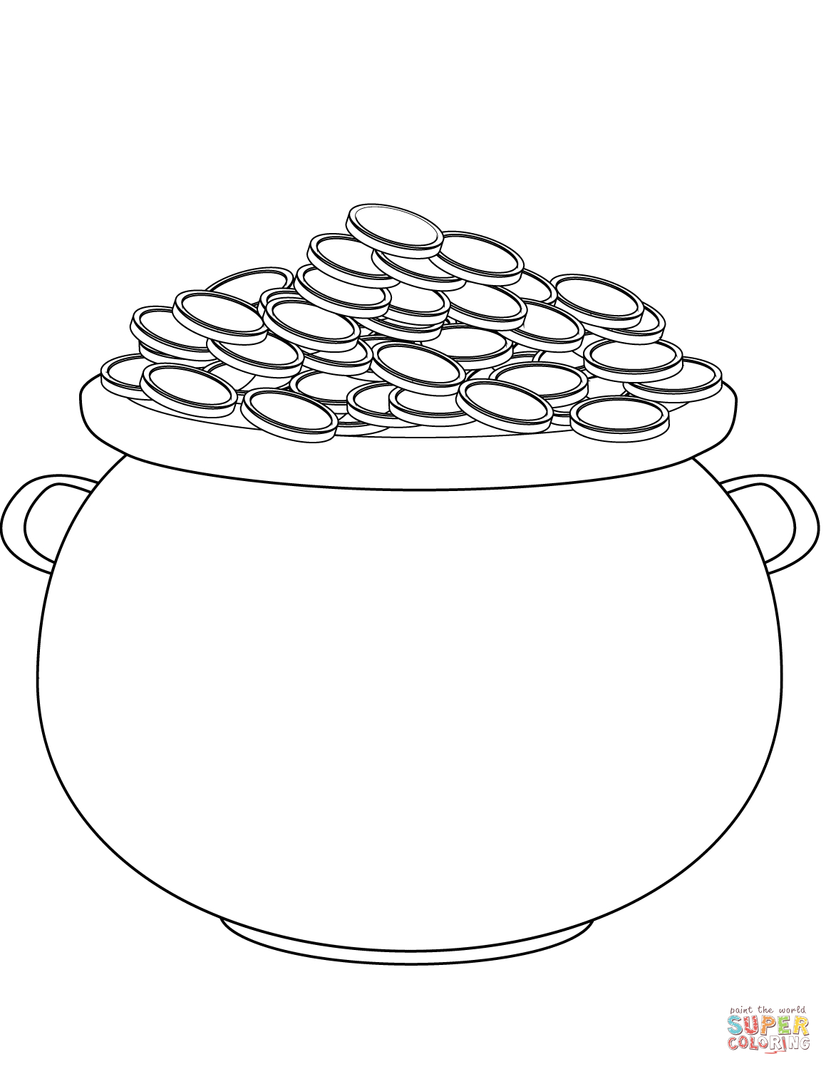 Saint Patrick's Day Pot Of Gold Coloring Page | Free Printable - Free Printable Pot Of Gold Coloring Pages