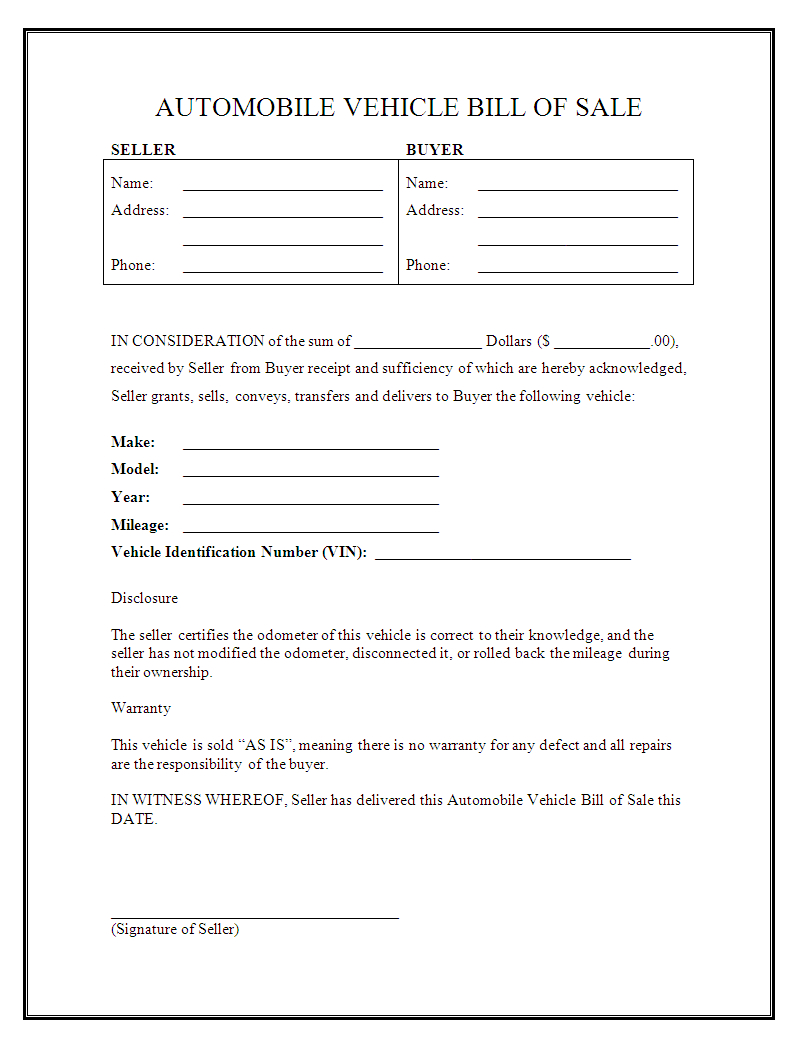 Sale As Is Form For Car - Tutlin.psstech.co - Free Printable Automobile Bill Of Sale Template