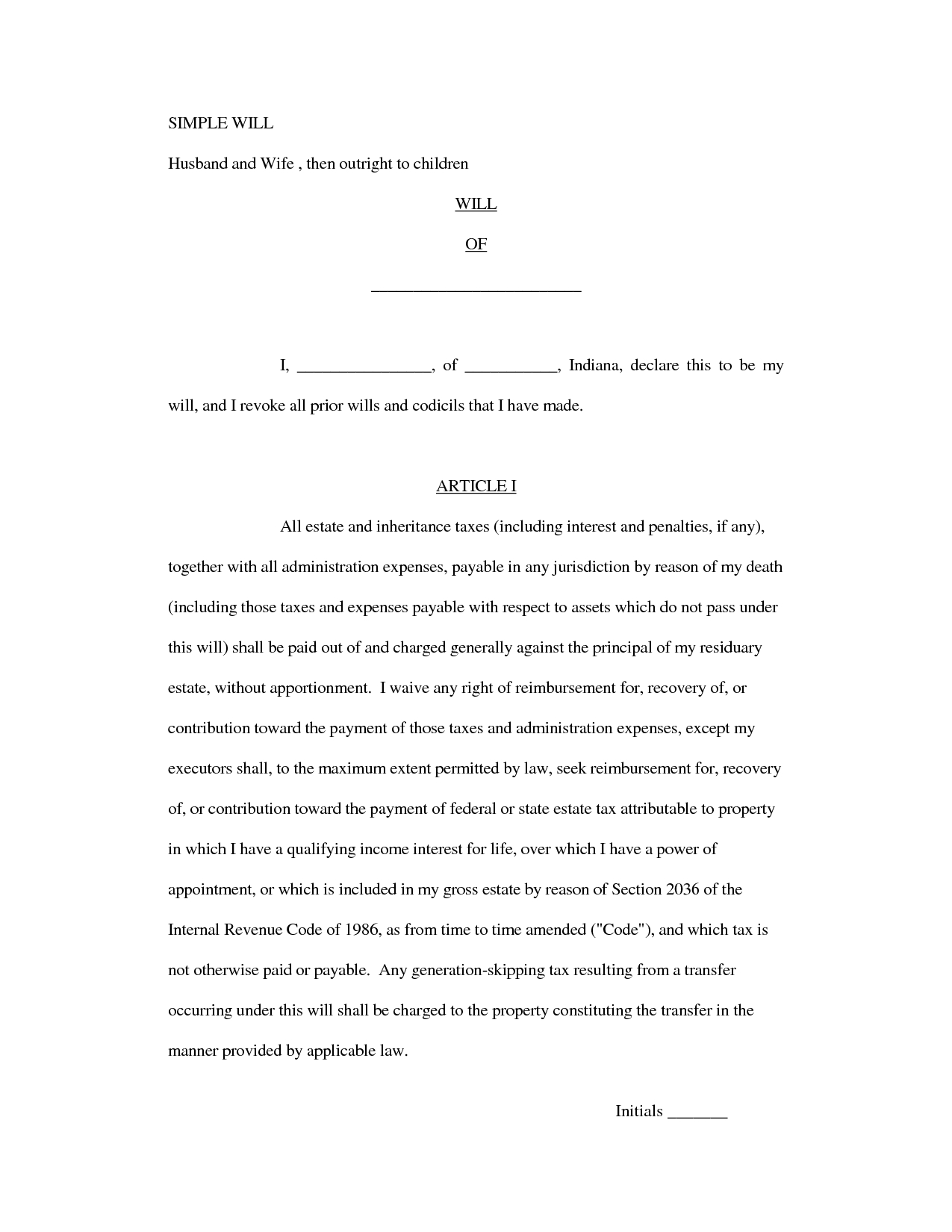 Sample Of A Simple Will - Kaza.psstech.co - Free Printable Basic Will