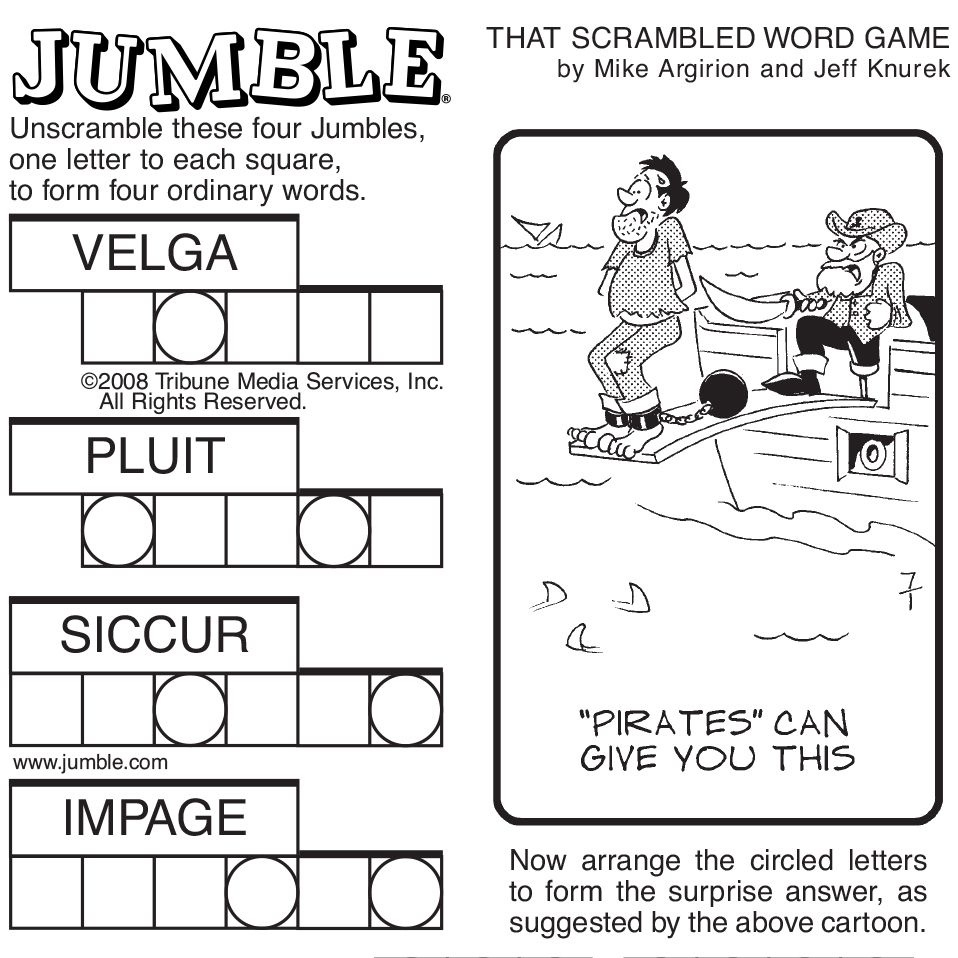 Sample Of Sunday Jumble   Tribune Content Agency   Stuff I Like - Free Printable Word Jumble Puzzles For Adults