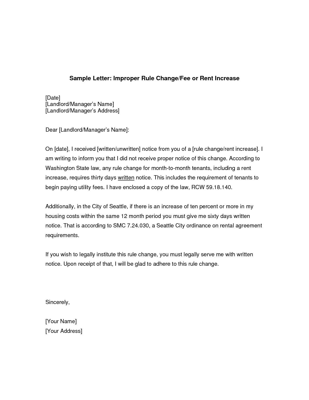 Sample Rent Increase Letter To Tenant - Demir.iso-Consulting.co - Free Printable Rent Increase Letter