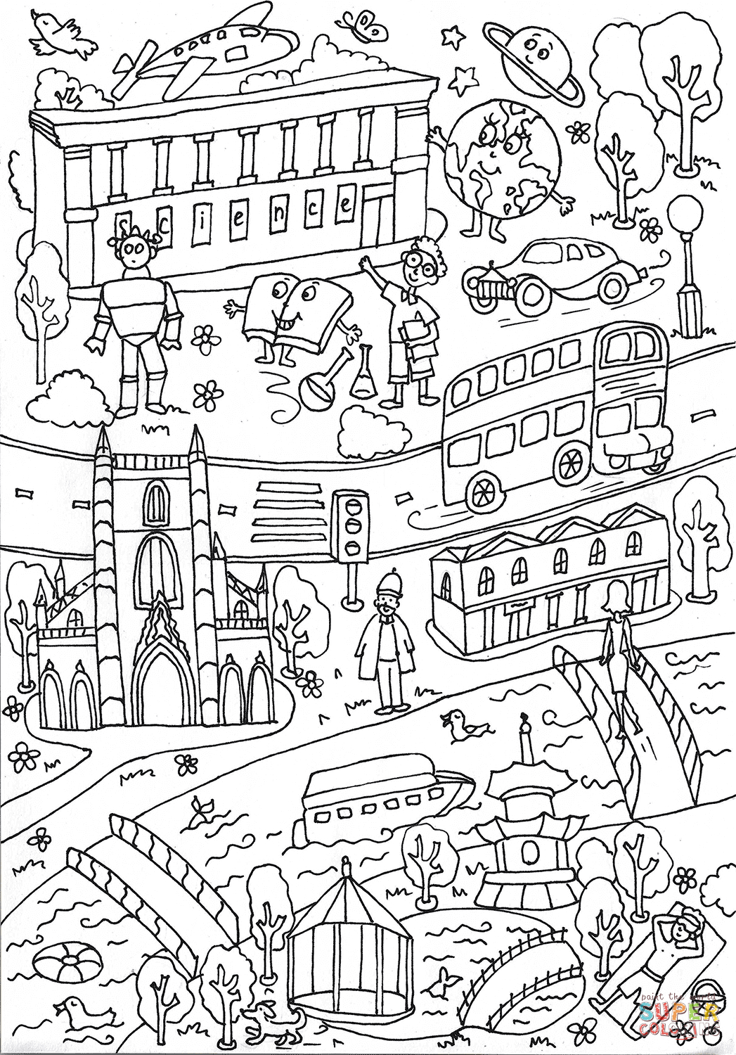 Science Museum And Battersea Park Coloring Page   Free Printable - Free Printable South Park Coloring Pages
