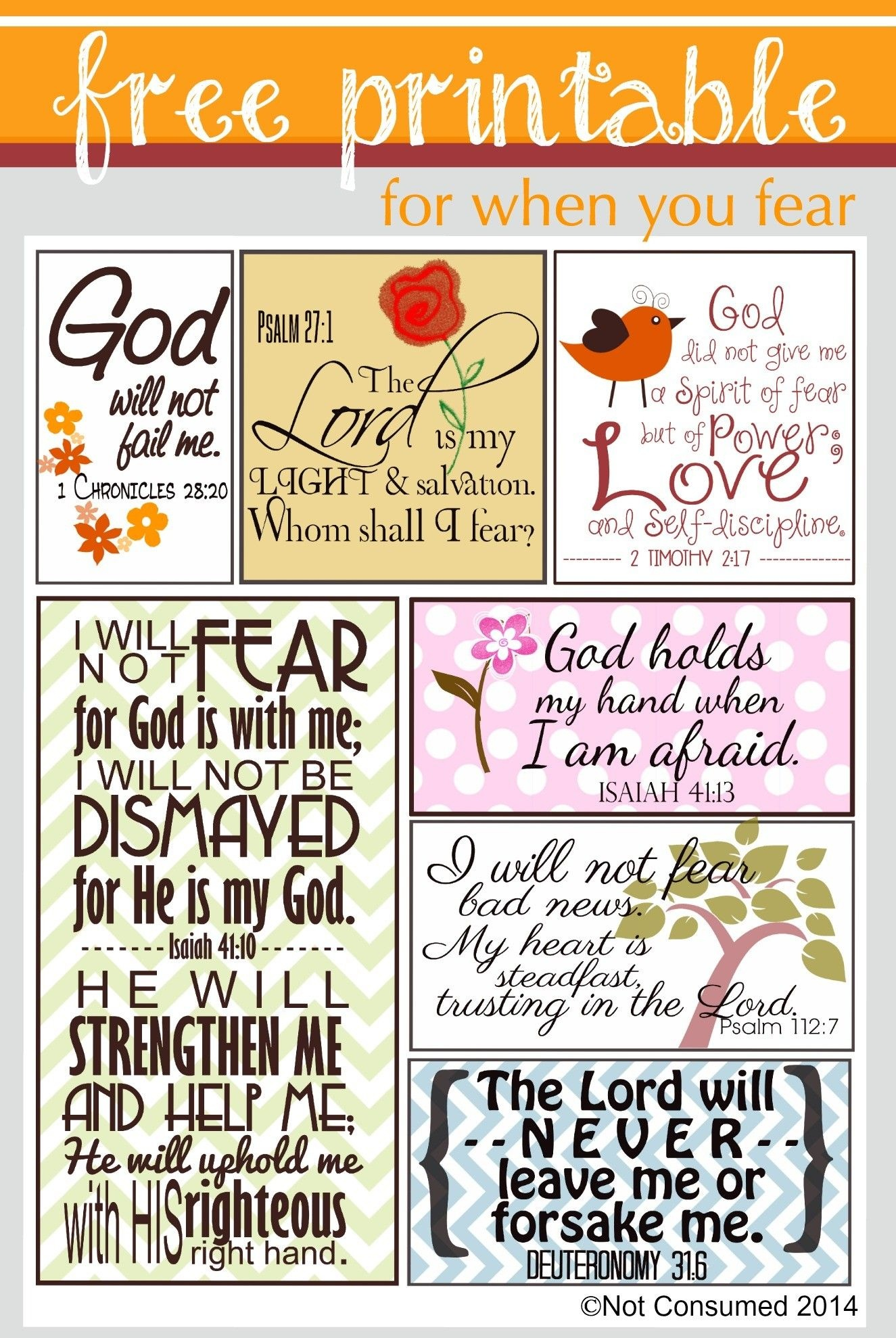 Scripture For When You Are Fearful | Bannie's Bible Journaling - Free Printable Inspirational Bible Verses