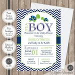 Sea Turtle Baby Shower Invitation Navy And Lime Green Chevron | Etsy   Free Printable Turtle Baby Shower Invitations