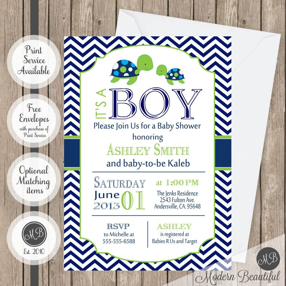 Sea Turtle Baby Shower Invitation Navy And Lime Green Chevron   Etsy - Free Printable Turtle Baby Shower Invitations