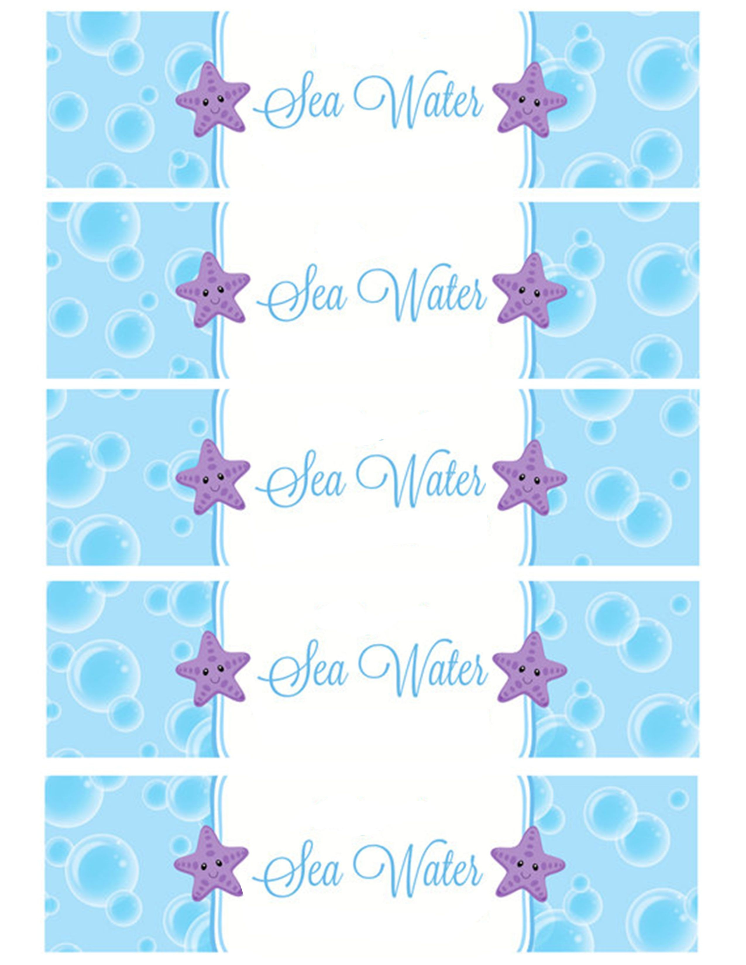Sea Water Water Bottle Labels   Holiday - Birthday Party In 2019 - Free Printable Little Mermaid Water Bottle Labels