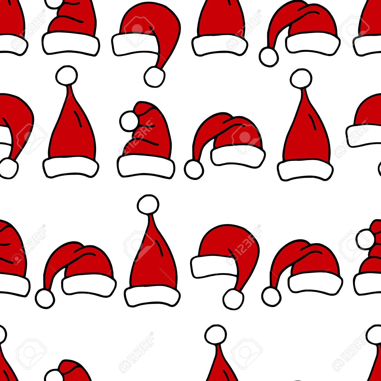 Seamless Pattern With Christmas Hats. Red Santa Hats For Textile - Free Printable Santa Hat Patterns