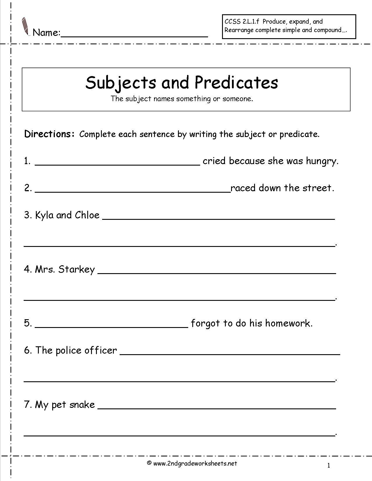 Second Grade Sentences Worksheets, Ccss 2.l.1.f Worksheets. - Free Printable Subject Predicate Worksheets 2Nd Grade