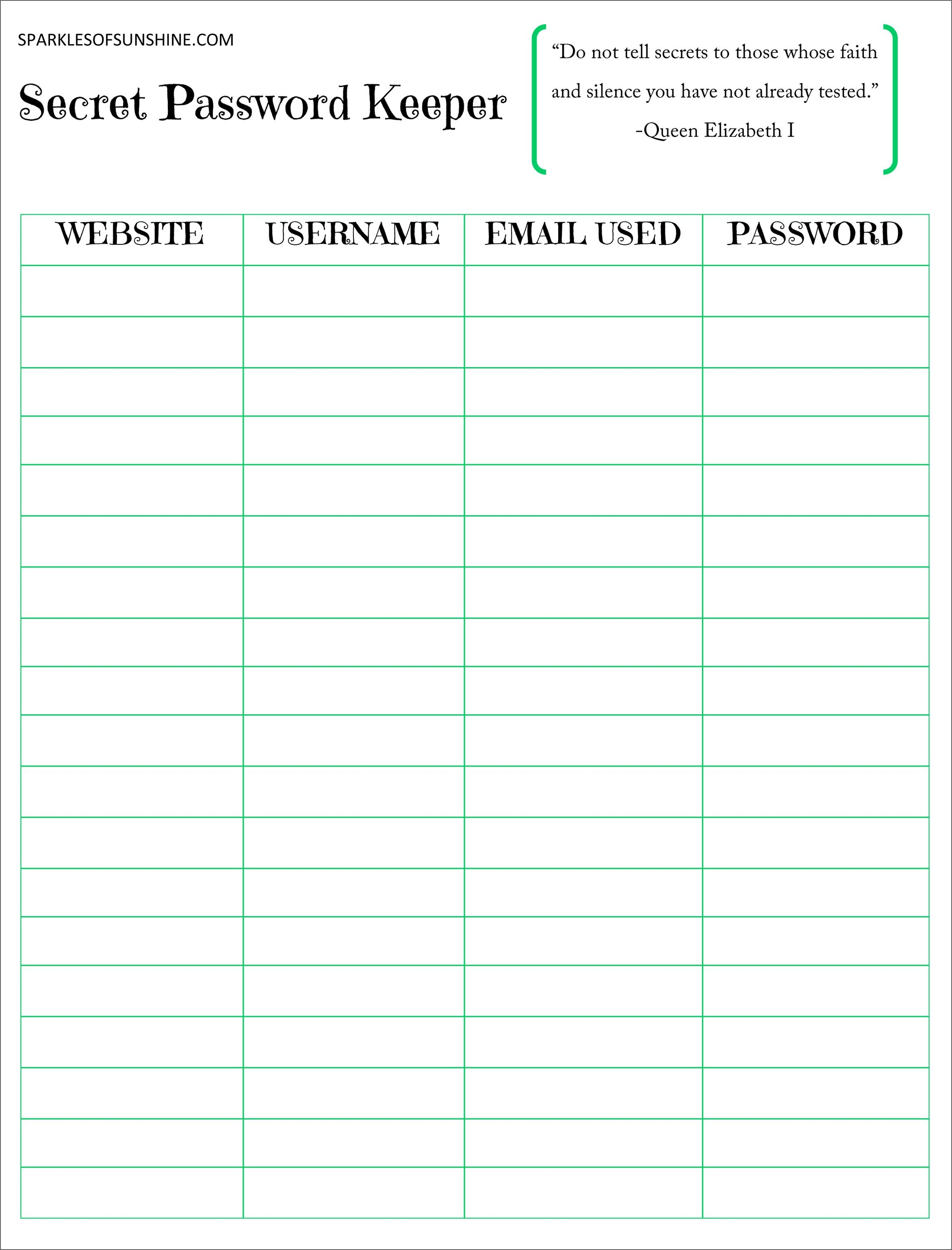 Secret Password Keeper Free Printable | Planners | Password Keeper - Free Printable Password Organizer
