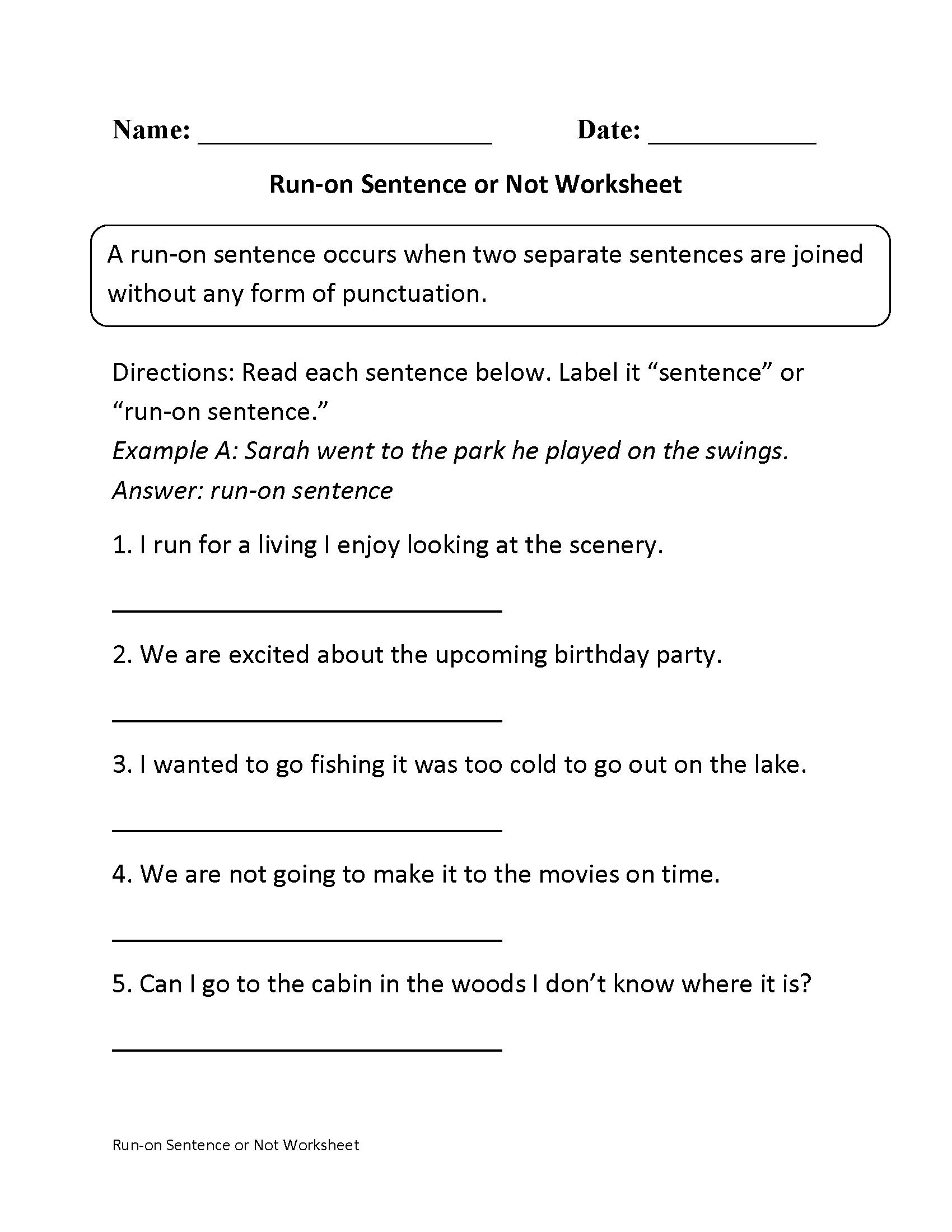 Sentences Worksheets | Run On Sentences Worksheets - Free Printable Sentence Correction Worksheets