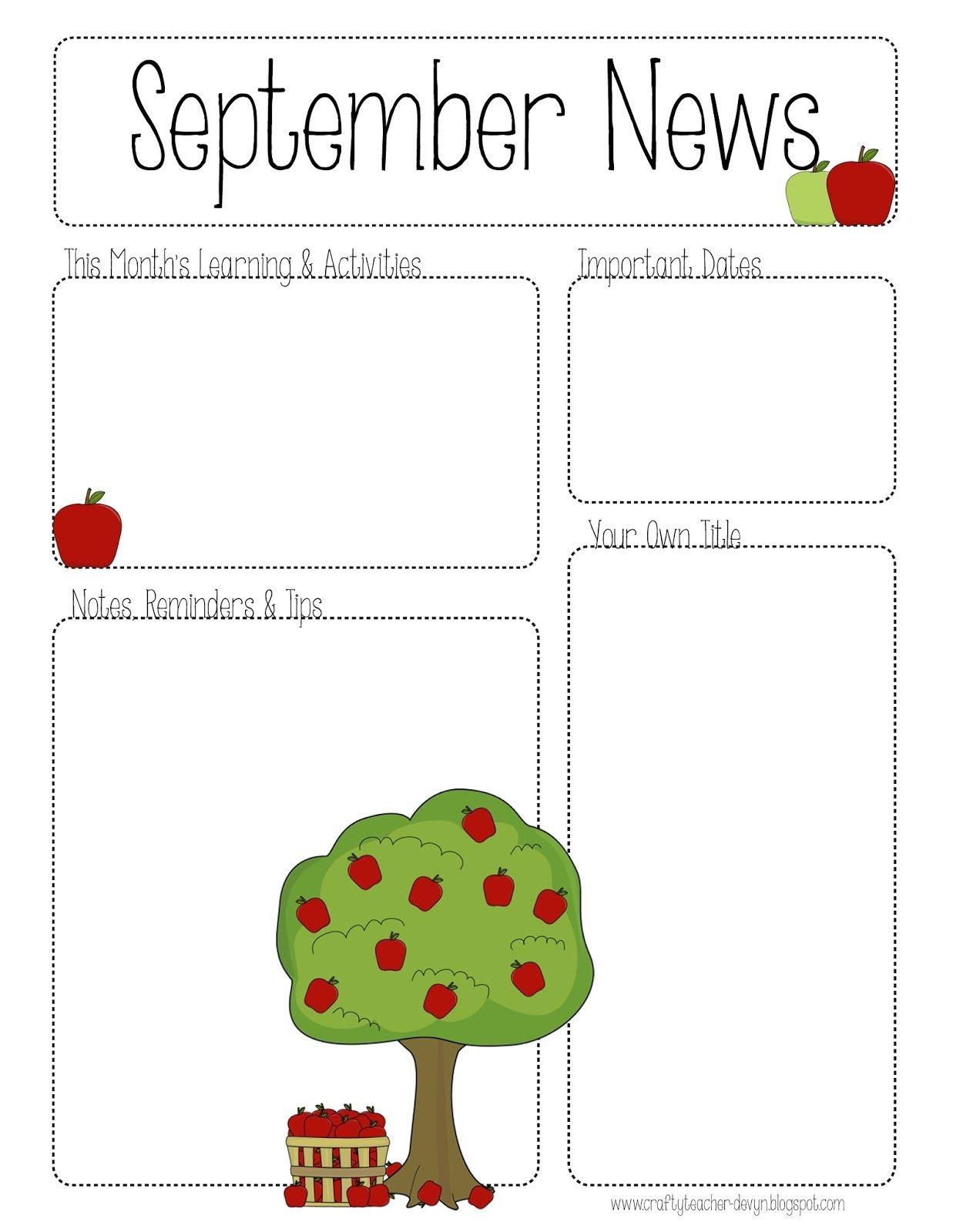 September Printable Newsletter -- All Grades!   Kindergarten - Free Printable Preschool Newsletter Templates