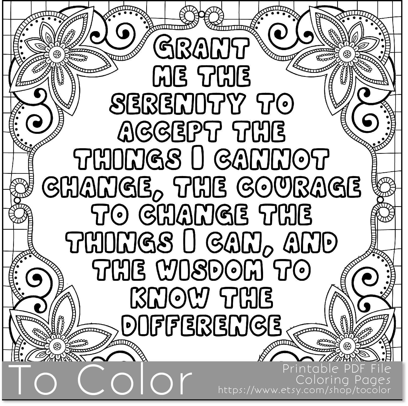 Serenity' Coloring Page For Grown Ups - This Is A Printable Pdf - Free Printable Serenity Prayer