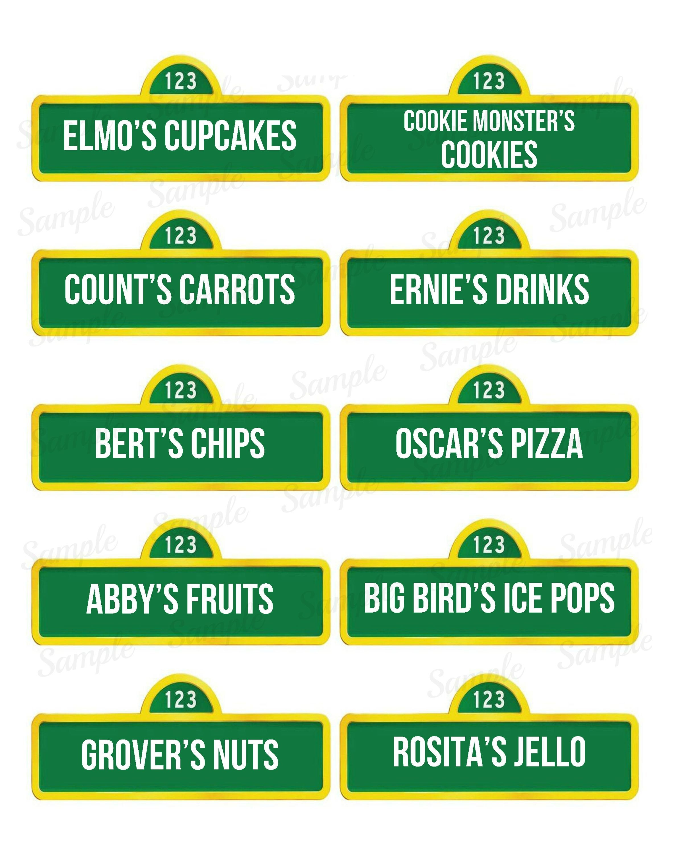Sesame Street Food Labels Name Tag Printable Elmo Abby | Etsy - Free Printable Sesame Street Food Labels