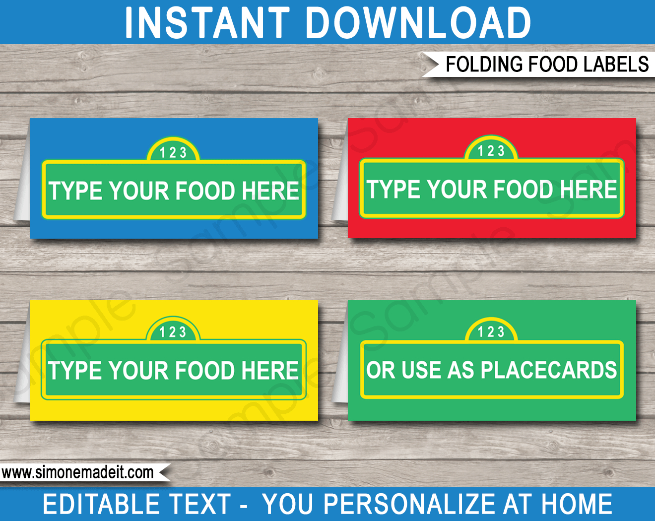 Sesame Street Party Food Labels | Place Cards | Sesame Street Theme - Free Printable Sesame Street Food Labels