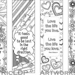 Set Of 4 Coloring Bookmarks With Quotes, Bookmark Templates With   Free Printable Spring Bookmarks