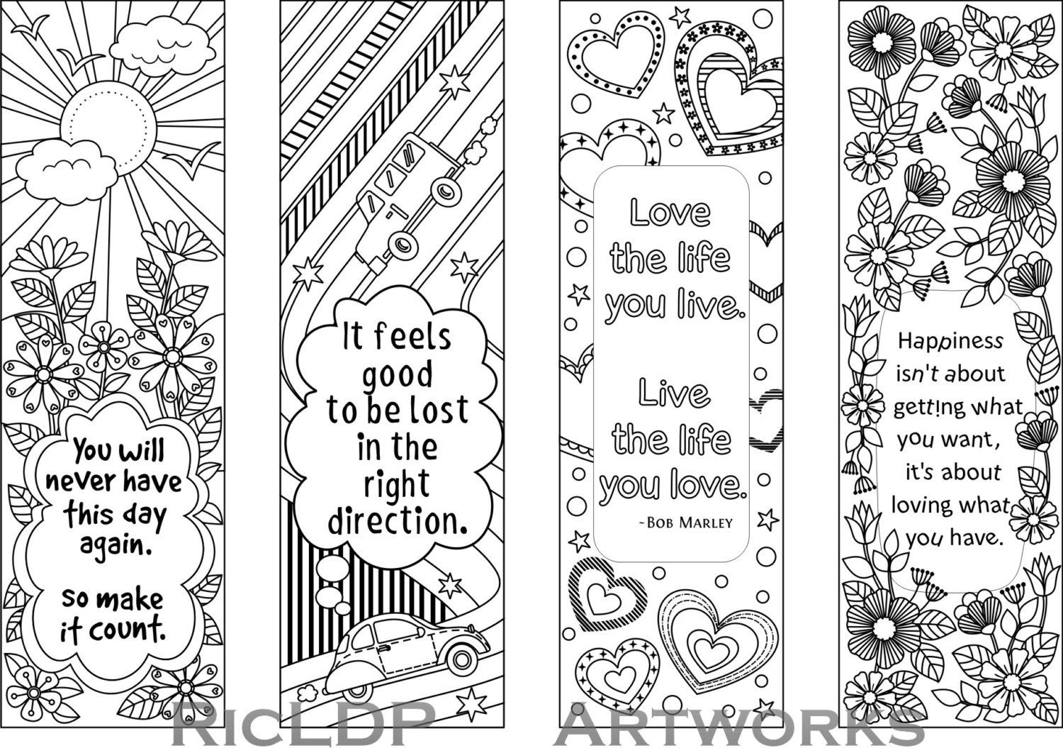 Set Of 4 Coloring Bookmarks With Quotes, Bookmark Templates With - Free Printable Spring Bookmarks