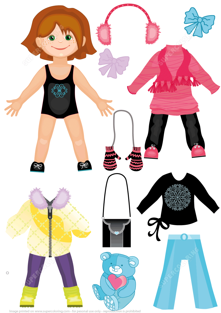 Set Of Winter Clothes For A Cute Girl Paper Doll From Dress Up Paper - Free Printable Dress Up Paper Dolls