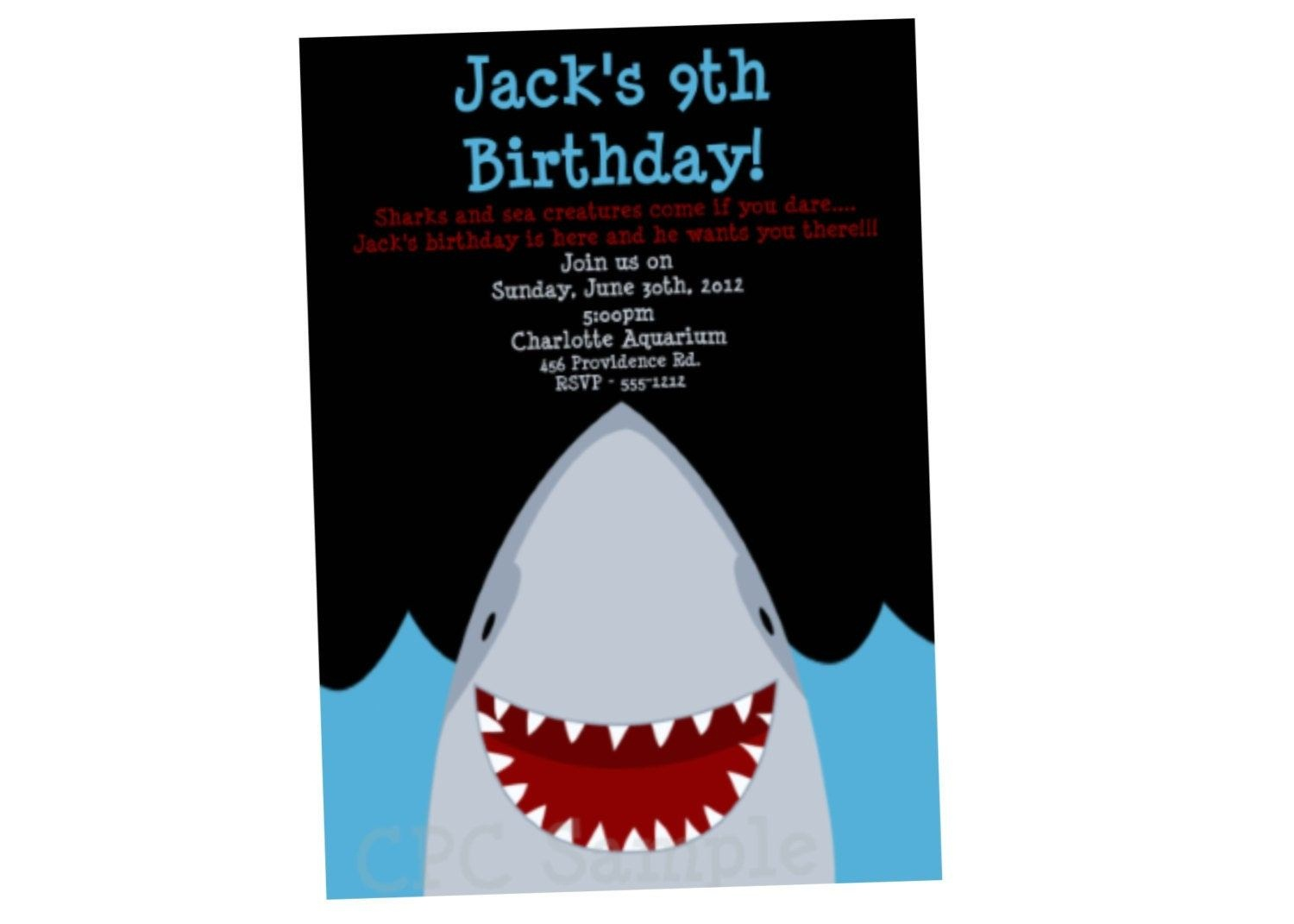 Shark Birthday Invitations - Anarchistshemale - Shark Invitations Free Printable