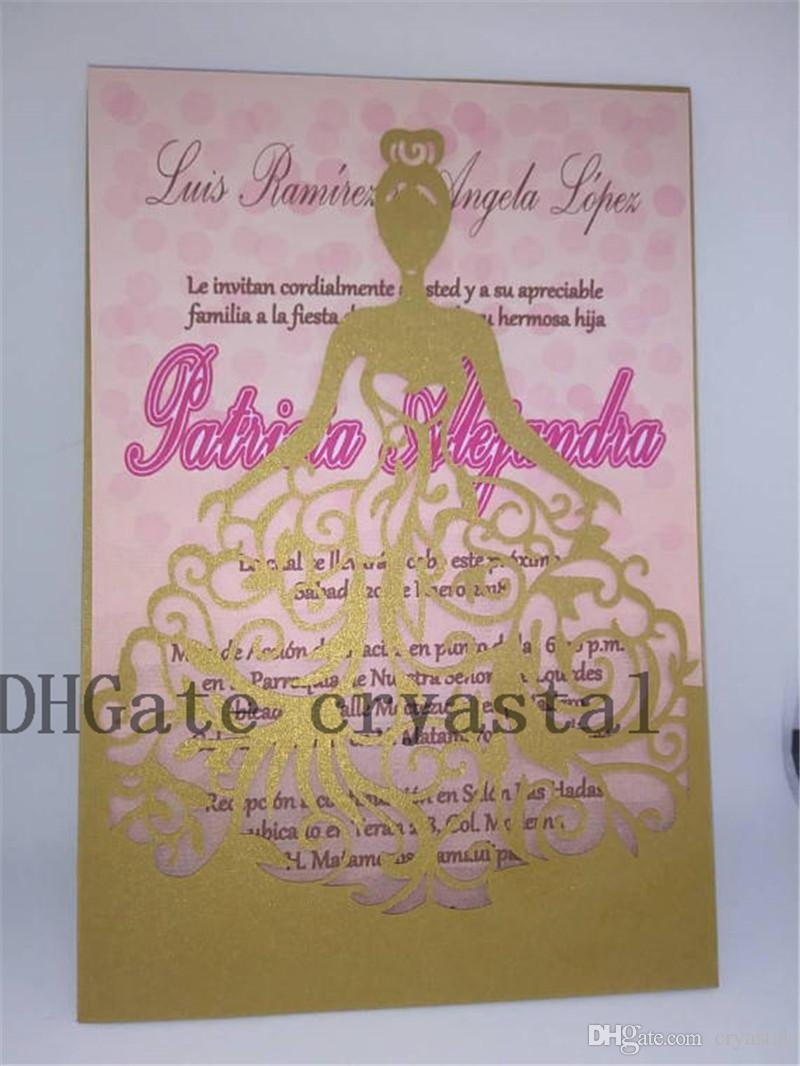 Shimmer Laser Cut Quinceanera Invitations. Gold Laser Cut Dress - Free Printable Quinceanera Invitations