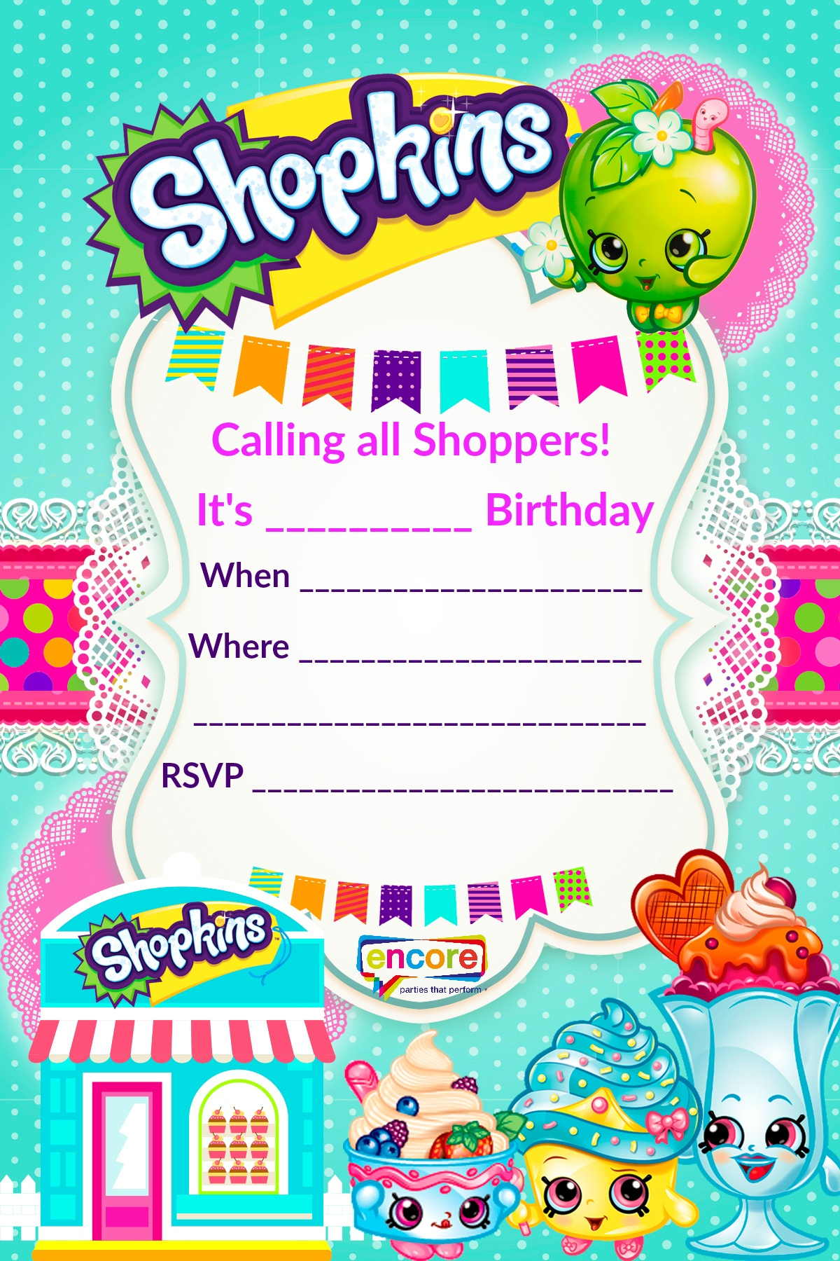 Shopkins Party Invite Download Free! | Encore Kids Parties - Printable Invitations Free No Download