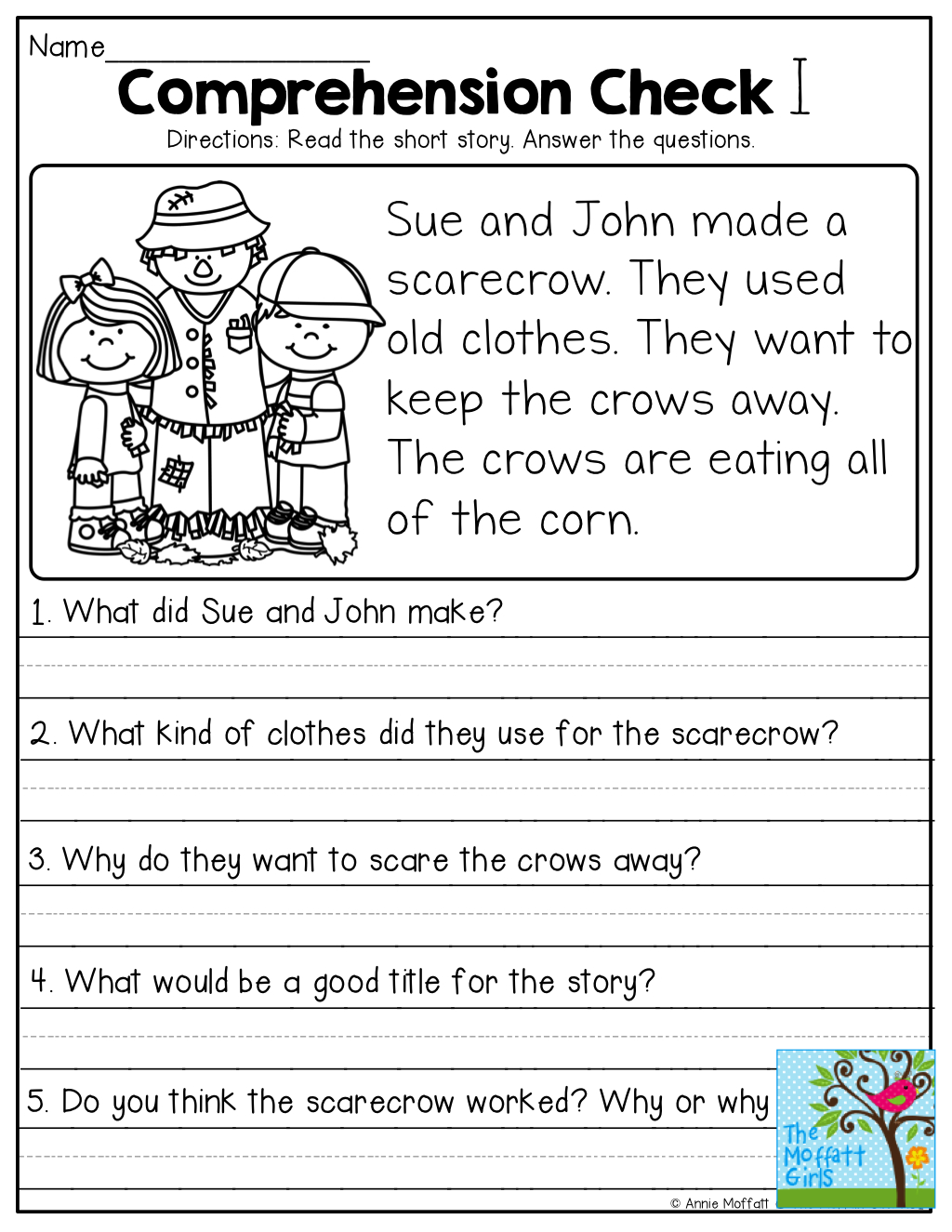 Short Stories With Comprehension Questions! | Jassiah | First Grade - Free Printable Comprehension Worksheets For Grade 5