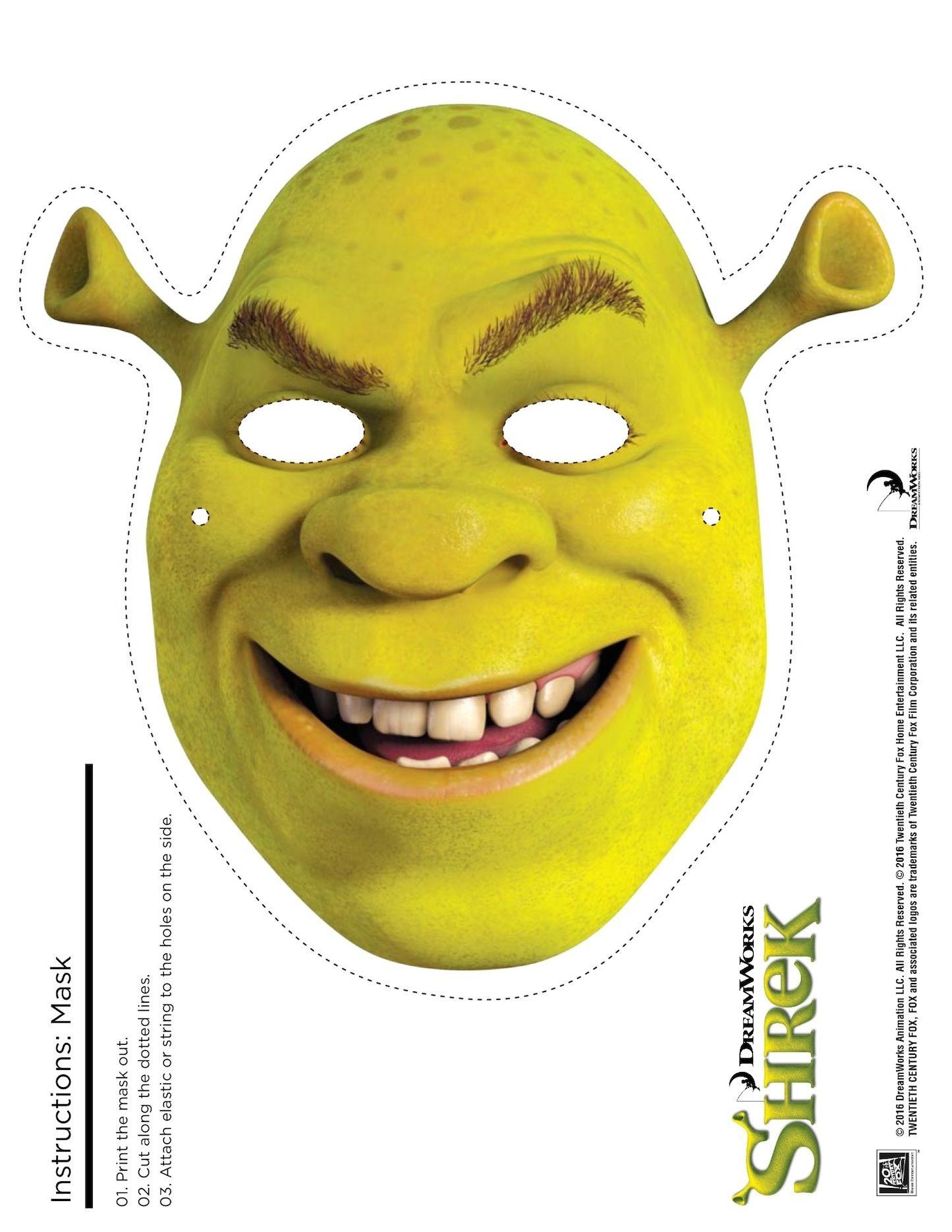 Shrek Photo Booth Props: Free Printable Shrek Mask | Sebastian's - Free Printable Shrek Birthday Invitations