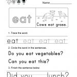 Sight Word (Eat) Worksheet   Free Kindergarten English Worksheet For   Free Printable Sight Word Worksheets