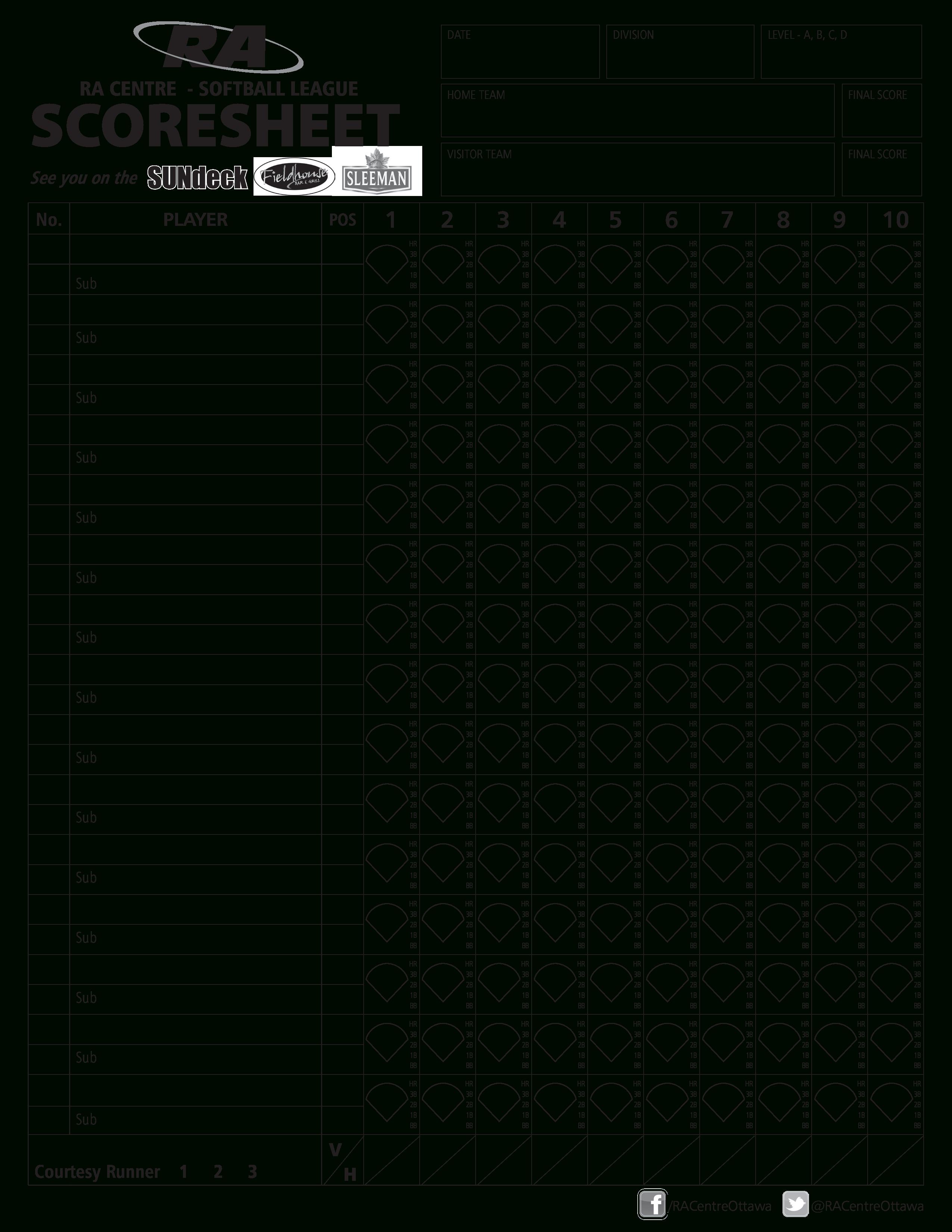 Simple Softball Score Sheet | Templates At Allbusinesstemplates - Free Printable Softball Stat Sheets